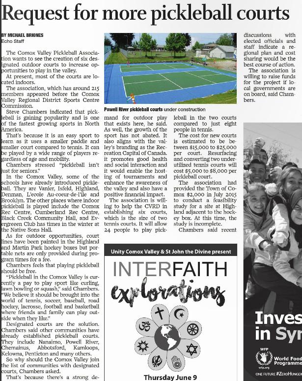 Echo newspaper article