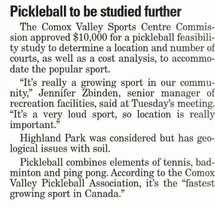 Comox Valley Record article